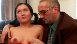 This perfect coed got her amazing holes spurted by weird mature teacher