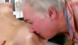 Wanna see amazing blonde performing sex with old master?
