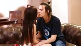 Check out nice young couple having tough loud sex in the bedroom