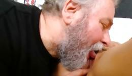 Young brunette bitch is screaming while she is drilled by old man