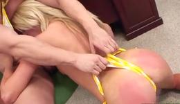 Charming horny blonde chick is hand jobbing the rod