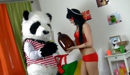 Prettyish bombshell having a wild fuck with her new panda toy