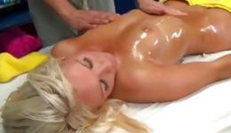 Blonde amazing whore is passionately touched by the masseur