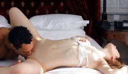 Gorgeous bitch gets a lot of pleasure from exercising with this guy in the bed