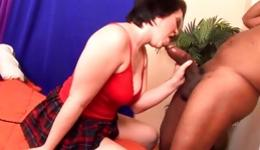 Hot sassy chubby whore is getting pounded from behind and moans