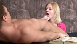 Hot blonde taking off his slutty pants and she is blowing his boner